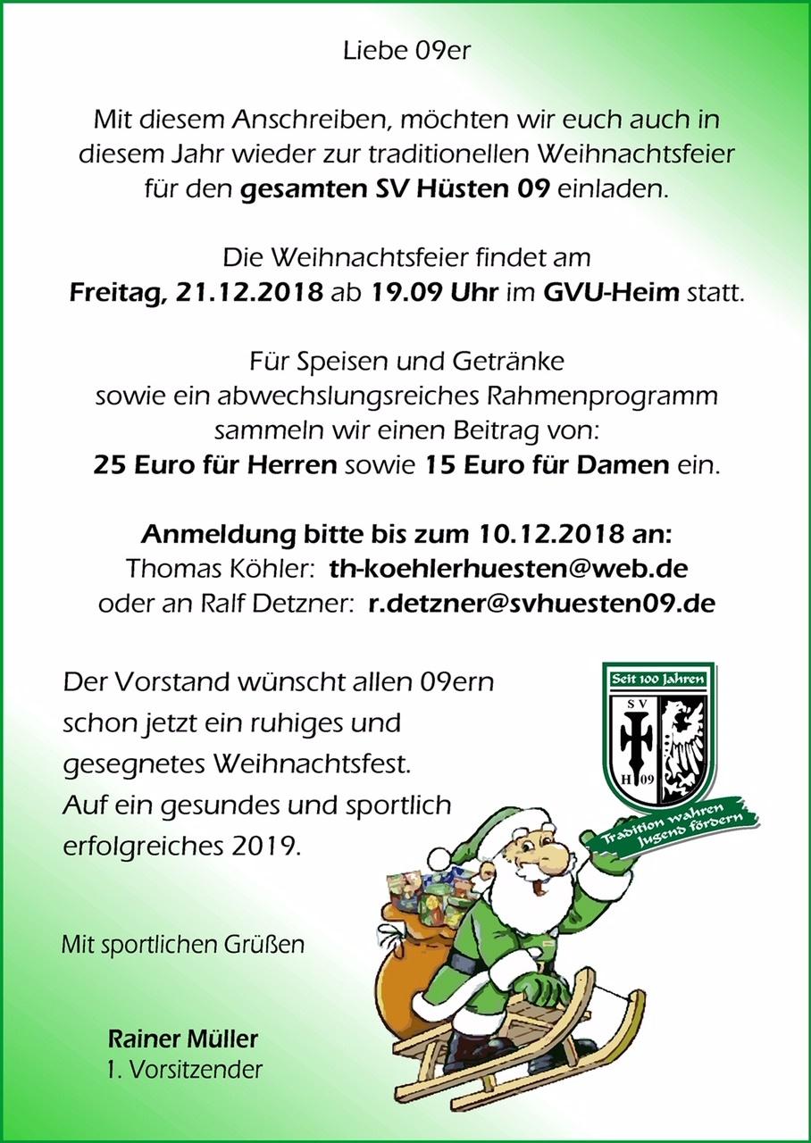 Beitrag Zur Weihnachtsfeier.Einladung Zur Weihnachtsfeier Sv Hüsten 09